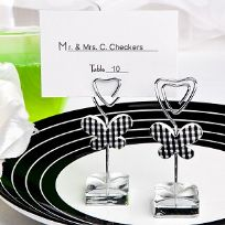 Black And White Gingham Butterfly Design Place Card Holder